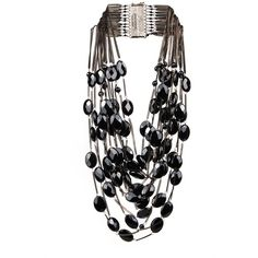 Rosantica By Michela Panero Sacramento onyx necklace found on Polyvore featuring jewelry, necklaces, accessories, jeweller, jewelry-necklace, black, tiered necklace, black jewelry, black chain necklace and chain jewelry