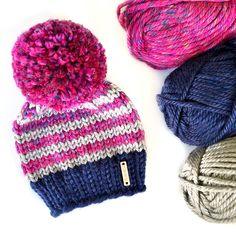 #Nickichicki knit striped pom pom beanie. Pink knit beanie hat. Navy knitted hat with pom pom. Toddler girl winter style. Girl fall outfit hat.