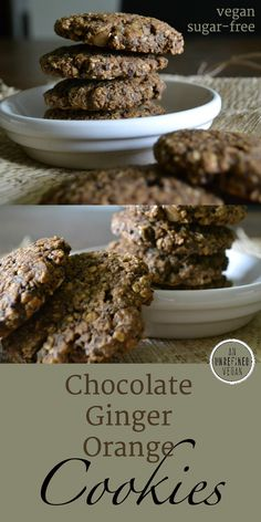 Sugar-free, plant-based Chocolate Ginger Orange Cookies have so much flavor! Get the recipe at An Unrefined Vegan.