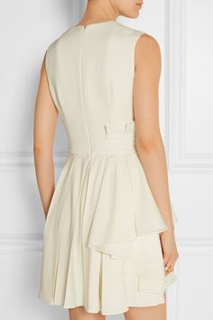 Alexander McQueen | Pleated grain de poudre wool mini dress | NET-A-PORTER.COM