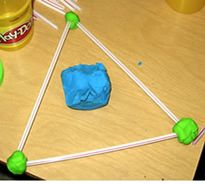 Teaching kindergarten math with real things- play-doh and straws.When teaching shapes, have student make shapes using play-doh and straws.  CCSS.Math.Content.K.G.B.5 Model shapes in the world by building shapes from components (e.g., sticks and clay balls) and drawing shapes.