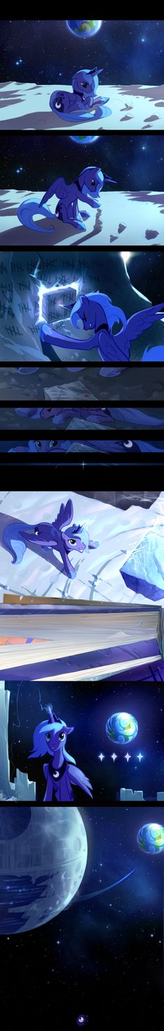 1000 years, 1 moon, 1 pony. Princess Luna passing time in her long timeout in the moon