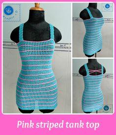 Pink Striped Crochet Tank Top | AllFreeCrochet.com I could make this of fine yarn& make it longer for a slip