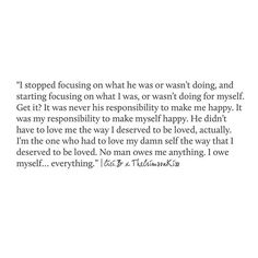 I owe myself.