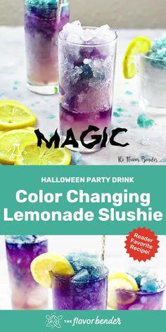 Kid Drinks, Party Food And Drinks, Summer Drinks, Cocktail Drinks, Virgin Party Drinks, Blue Drinks, Beverages, Lemonade Slushie, Slushies
