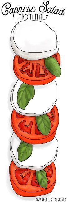Fresh Caprese Salad from Italy (illustration by Wanderlust Designer)