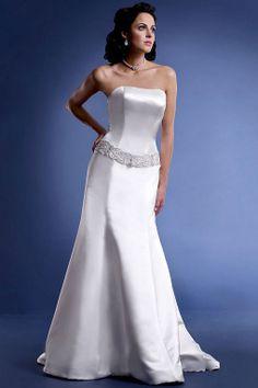 Amazing trumpet / mermaid dropped waist satin wedding dress