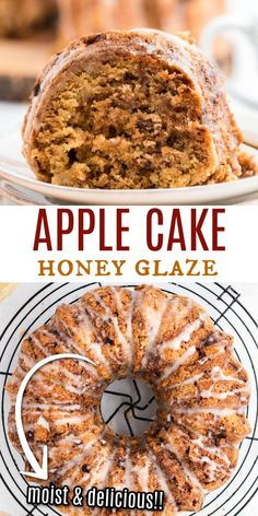 Delicious and moist, this cake is filled with apples, cinnamon and nuts! A rich Apple Cake with Honey Glaze is a perfect fall dessert recipe. Fall Dessert Recipes, Sweets Recipes, Apple Recipes, Cupcake Recipes, Fall Recipes, Baking Recipes, Delicious Desserts, Cupcake Cakes, Cupcakes