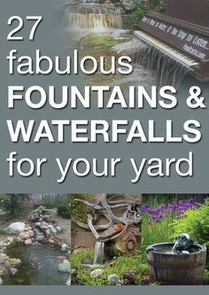 27 fabulous fountains and waterfalls for your yard- http://www.waldenfarmandranch.com/ has the fish you need to stock your pond!: