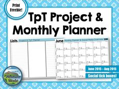 TpT Monthly Planner & Social Media Overview FREEBIE! This is a free planner, intended to help fellow TpT'ers in their work. These sheets were created to aid in working on ToT stores, and is shared with everyone as a celebration for reaching 100+ followers!