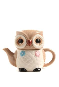 Owl Teapot. My kitchen needs to have this little guy in it.