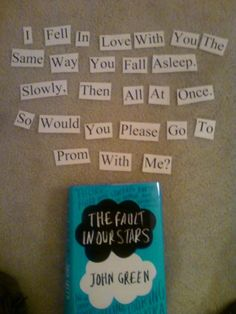 TFIOS Promposal I'm in love! I would cry if someone asked me this way omg Cute Prom Proposals, Homecoming Proposal, Prom Posals, Homecoming Ideas, Formal Proposals, Senior Prom, Asking Someone Out, Asking To Prom, Prom Ideas Asking