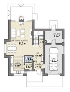 DOM.PL™ - Projekt domu FA Telimena CE - DOM GC6-29 - gotowy koszt budowy Carriage House Plans, Duplex House Design, Tuscan House, Design Case, Traditional House, Floor Plans, How To Plan, Dining, Home Decor