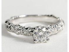 eiros™ Vine Round Cut Diamond Engagement Ring in 14k White Gold #BlueNile