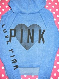 New Victoria's Secret Love Pink Blue Black Heart sweat Shirt Zip Hoodie XS | eBay