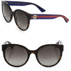 Gucci Women's 54MM Web-Temple Round Sunglasses - Havana (3 055 SEK) ❤ liked on Polyvore featuring accessories, eyewear, sunglasses, apparel & accessories, havana, round lens sunglasses, acetate sunglasses, gucci sunglasses, uv protection glasses and lens glasses