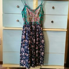 So cute Patron of Peace boho sun dress! Doubl spaghetti strap, tiny pinch pleated skirt, embroidered bodice. Worn once. Patrons of Peace  Dresses Midi