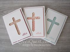 Classic Label Punch Cross Card by Qbee - Cards and Paper Crafts at Splitcoaststampers - These Easter cards are so easy to make using just the Classic Label Punch. Watch my video tutorial - Confirmation Cards, Baptism Cards, Diy Easter Cards, Diy Cards, Handmade Easter Cards, Handmade Christening Cards, Easter Cards Religious, First Communion Cards, Christian Cards