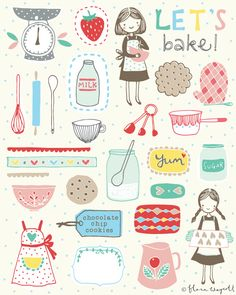 Flora Waycott Design Let's bake! Sketch Note, Drawn Art, Hand Drawn, Doodles, Images Vintage, Food Illustrations, Cute Illustration, Planner Stickers, Flora