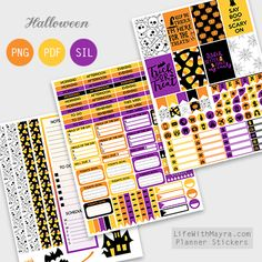 Free Printable Halloween Planner Stickers {PDF, PNG and Silhouette files} from lifewithmayra