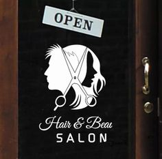 Hairdressing shop dedicated window glass wall decal sticker barber shop hair salon ornament figures