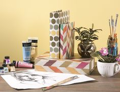 Book boxes are the perfect place to store arts and crafts or office supplies to keep your desk free of clutter! Pictured: from O Magazine's Oprah's Favorite Things 2015 - Confetti Book Boxes by IMAX