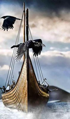 Odins raven watches over viking ship.