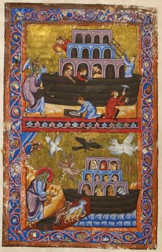 From: Ancient History to Caesar,; A 13th century French Manuscript at London, British Library, Add.  15268, f.  7v,   Subject: Noah's Ark.    Source: British Library, London.