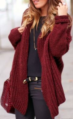 Maroon cozy sweater for winter
