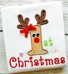 1st Christmas Reindeer Applique - 3 Sizes! | What's New | Machine Embroidery Designs | SWAKembroidery.com Creative Appliques
