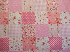 Patchwork Print 100% Cotton Fabric in Pink