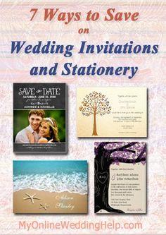 Wedding Invitation ideas ... 7 Ways to Save. Links to a lot of different inexpensive wedding invite and save the date designs, too. | #MyOnlineWeddingHelp MyOnlineWeddingHel...