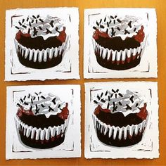 Chocolate cupcake Linocut #arttotake #drukpersbrigade Mobile Art, Kitchen Art, Chocolate Cupcakes, Muffin, Breakfast, Instagram Posts, Desserts, Food, Breakfast Cafe