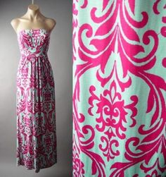 Mint-Green-Bright-Pink-Damask-Tapestry-Goddess-Gown-Long-Maxi-148-mv-Dress-S-M-L