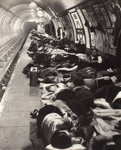 Underground Stations in London used as air raid shelters during The Blitz. 1940, Bill brandt photography.