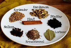 Zutaten für selbst gemachtes indisches Garam masala