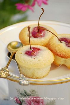 "Home made ....@Deb O'Bryan: Hight tea in my garden. "" Tiny Cherry and Almond Tea Cakes"""
