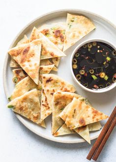 How to make scallion pancakes! Such an EASY snack or appetizer. Only 4 ingredients. Just like at restaurants!