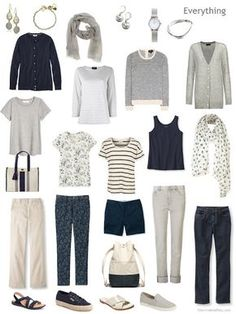 a travel capsule wardrobe in navy, beige and warm grey