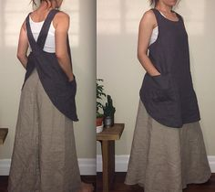 Natural Linen Japanese Apron / Pinafore / Cross by MissesCountry