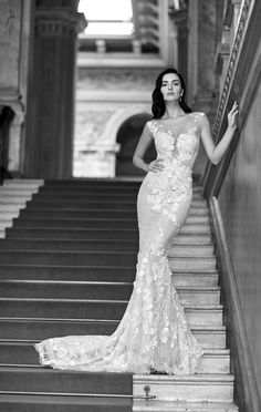 Fit and flare cap sleeve gown with lace and illusion detailing. | Maison Signore | Style: EDEN
