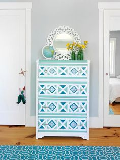 """How awesome would this be in my foyer? From """"How to Paint a Geometric Design on a Dresser"""" : Home Improvement : DIY Network"""