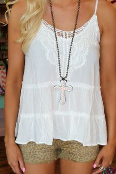 Clementine Ivory Tank - The Lace Cactus