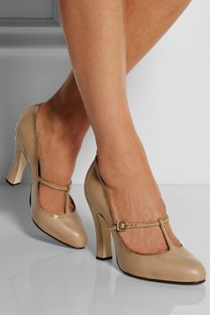 Marc Jacobs|Distressed leather Mary Jane pumps|NET-A-PORTER.COM