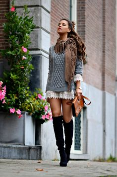 Knits and Crochet [[MORE]] I was wearing: Knitted sweater: Noor Amsterdam here // Chrochet dress: Glamourous // Over The Knee Boots: Unisa here I love this similar pair here too // Wrist Watch: Prisma...