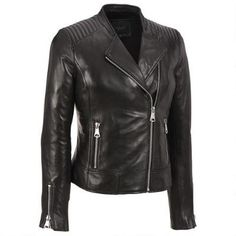 Marc New York Asymmetrical Zip Quilted Shoulder Leather Moto Jacket
