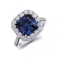 A prized 4.16CT sapphire with a steel blue color is the crowning feature of this gorgeous ring. 1.22 carats of diamonds decorate the halo and shank. Set in platinum. GIA certified sapphire. #coastdiamond