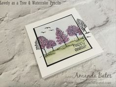Watercolor Pencils & Lovely as a Spring or Easter Tree by Amanda Bates at The Craft Spa. Stampin Up Demonstrator in the UK