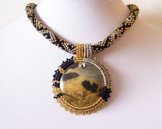 Beadwork Bead Embroidery Pendant Necklace with Chohua by lutita, $95.00