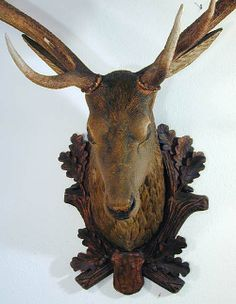 antique black forest carved wood stag head